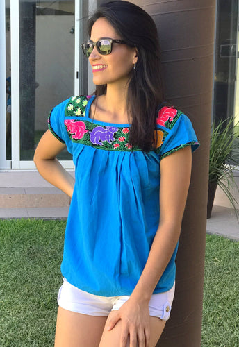 Artisanal Embroidered Blouse Blue