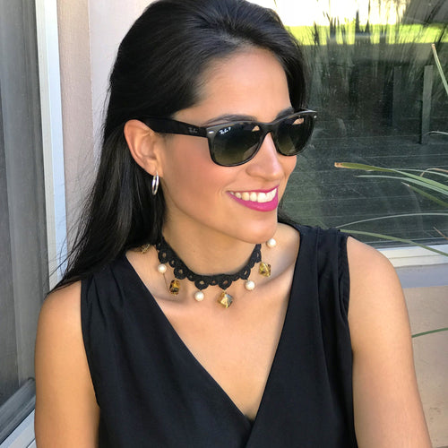 Black Choker with Amber and Pearls