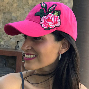 Embroidered Flower Hat pink