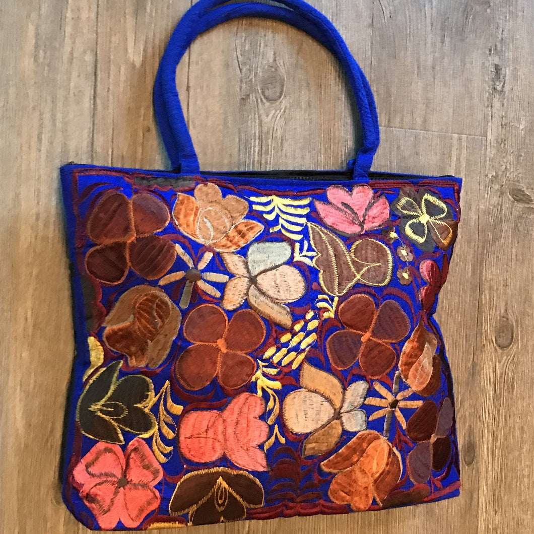 Embroidered Flowers Tote