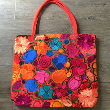 Load image into Gallery viewer, Embroidered Flowers Tote Bag