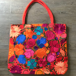 Embroidered Flowers Tote Bag
