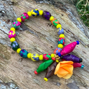 Multicolor Palm Bracelet with Flower