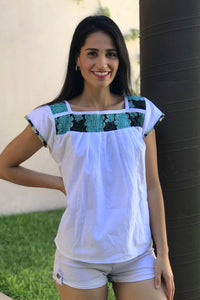 Artisanal Embroidered Blouse White/Turquoise