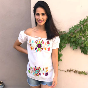 Embroidered Shoulder Top White