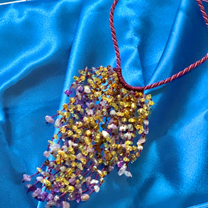 Amber and Amethyst Cascade Necklace