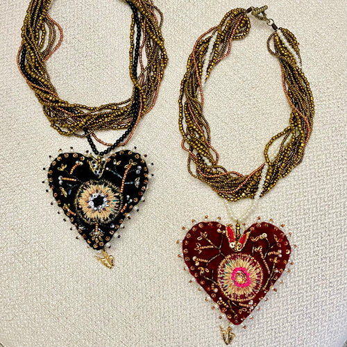 Terciopelo Embroidered Heart Necklace
