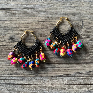 Macrame Earrings with Palm Spheres