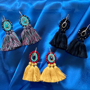 Stones and Tassel Earrings