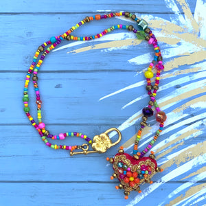 Colorful Heart Necklace with Stones
