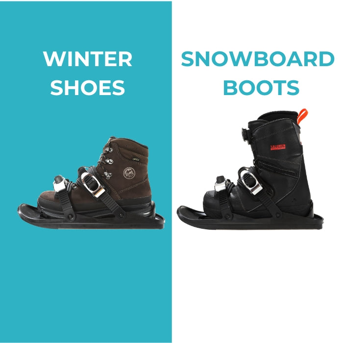 Snowfeet -  Use with any winter shoes or snowboard boots, no equipment needed.