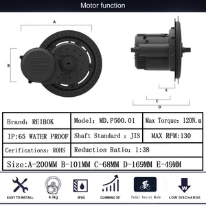 【NORTH AMERICA】Rattan REIBOK 48V 500W Mid Drive Motor & Other Brand Battery