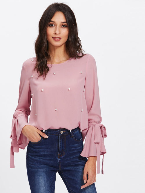 Pearl Embellished Cuff Blouse