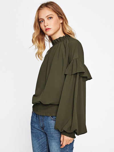 Frill Trim Bishop Sleeve Smocked Hem Blouse