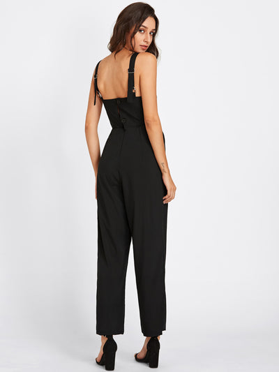 Adjustable Strap Button Back Jumpsuit
