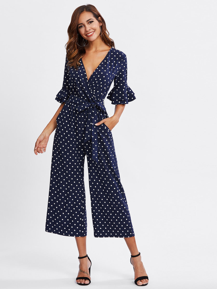 Tiered Trumpet Sleeve Jumpsuit