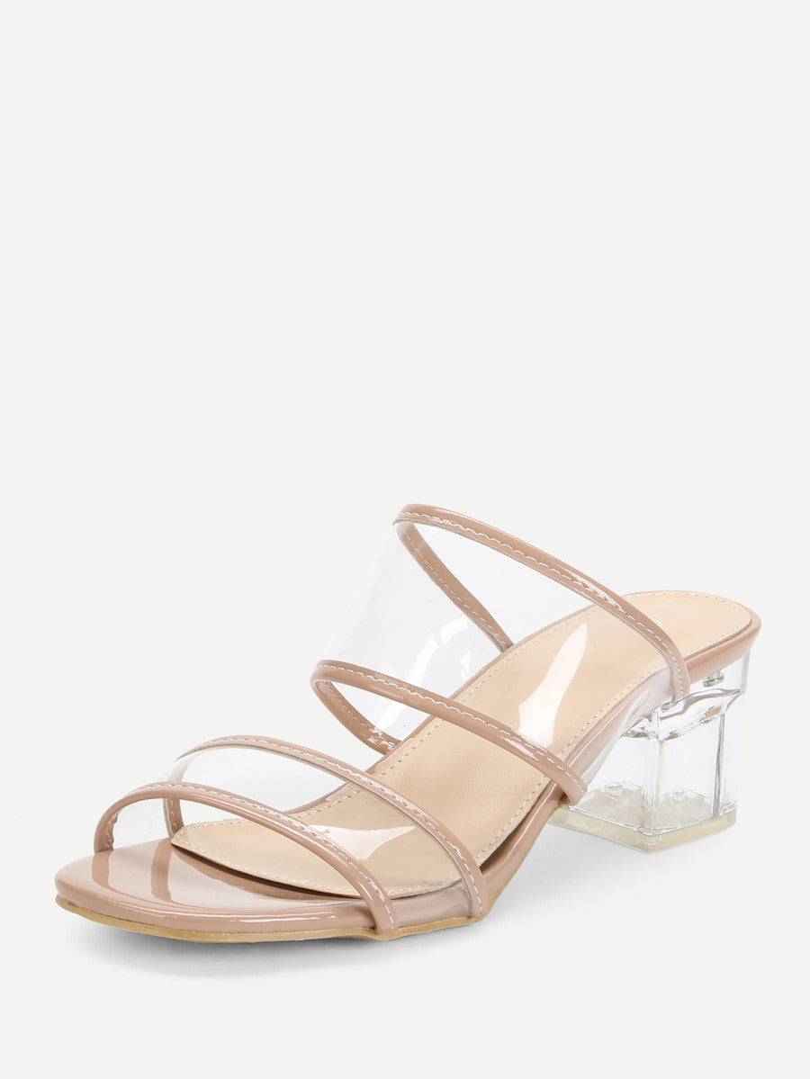 Chunky Heeled Clear Design Mules