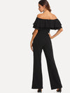 Flounce Off Shoulder Self Tie Jumpsuit