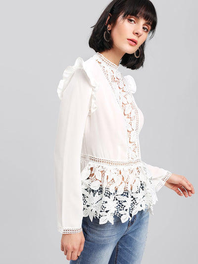 Frilled Shoulder Lace Insert Peplum Top