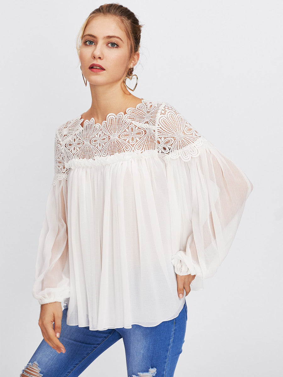 Lace Yoke Smock Top