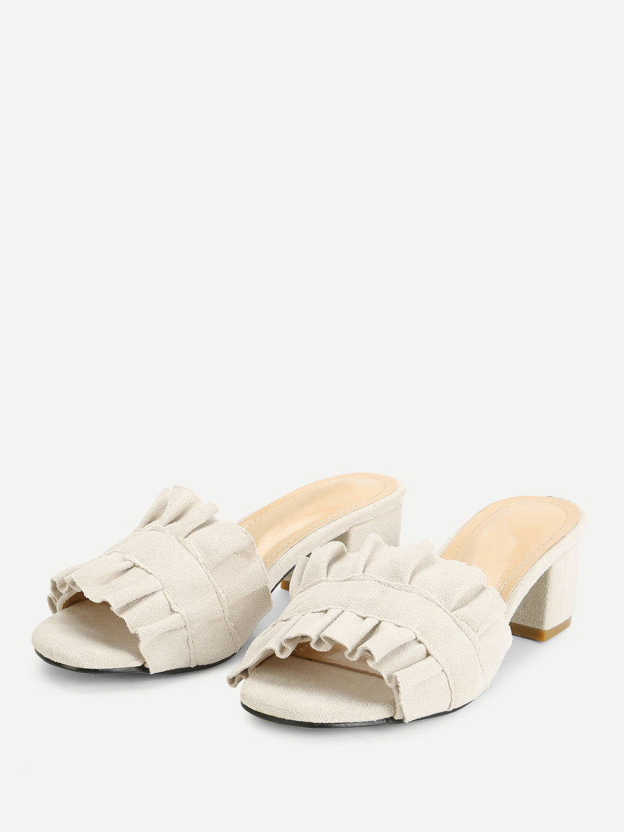 Ruffle Detail Block Heeled Mules