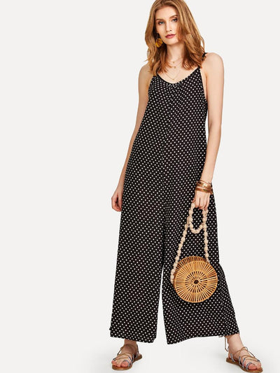 Polka Dot Open Back Cami Jumpsuit