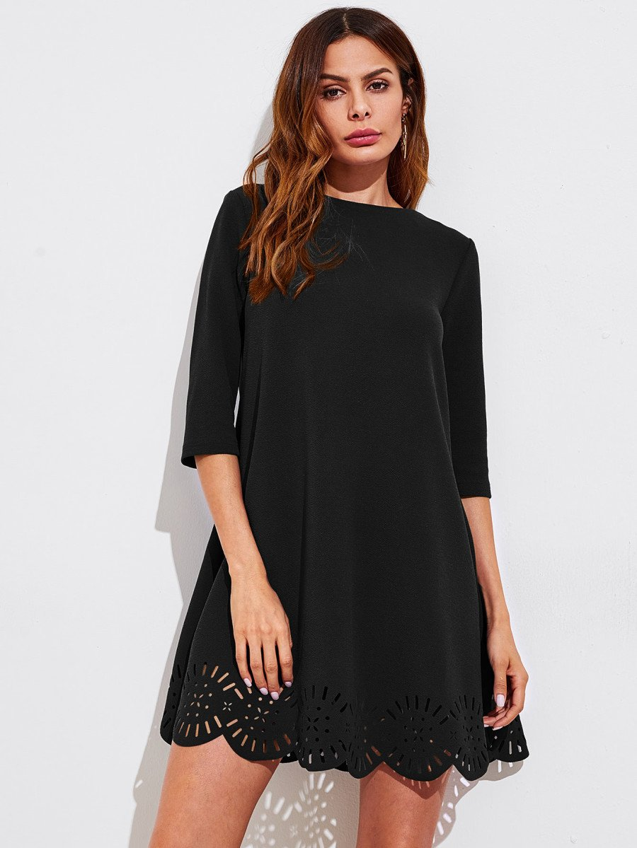 Frill Sleeve And Cuff Flowy Dress Artisan Theme Victoria Frilly Laser Cut Longdress Scallop Hem Swing