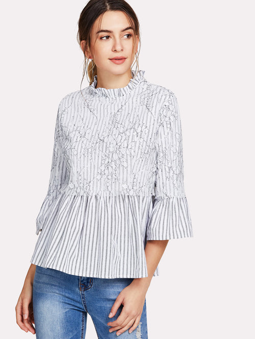 Appliqué Striped Smock Top