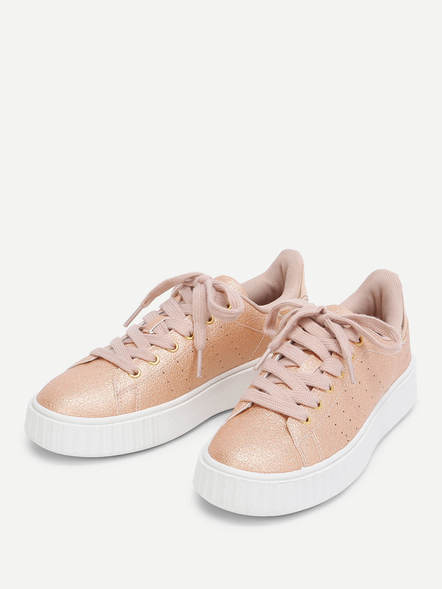 Metallic Lace Up Trainers