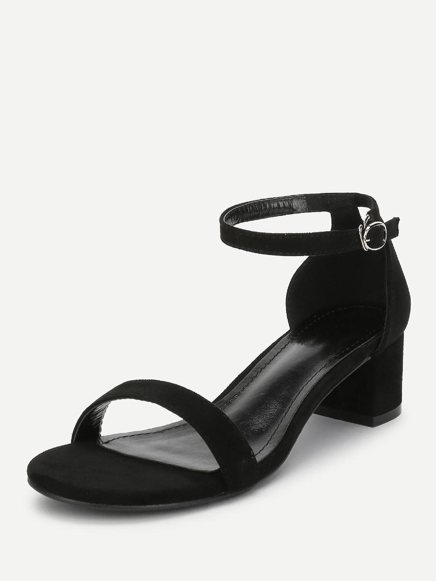 Ankle Strap Two-Piece Block-Heel Sandals