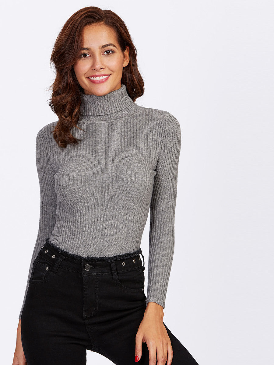 Rolled Neck Ribbed Knit Fitting Sweater