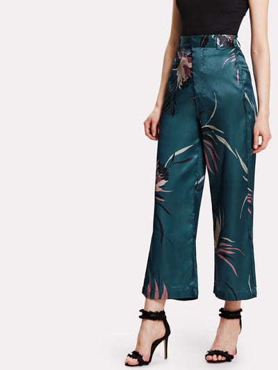 Botanical Print Wide Leg Pants