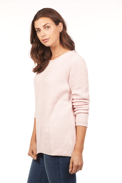 Solid Shaker Crew Sweater-pink-side