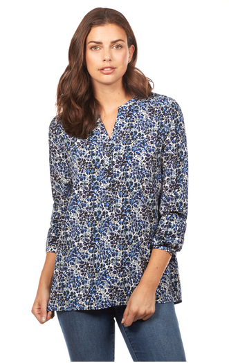 Floral Print Popover Blouse-front