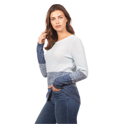 ombre knit sweater-blue-front