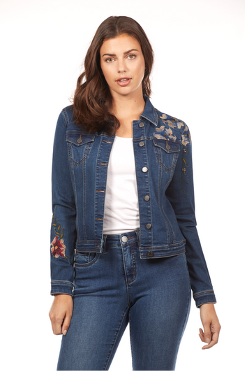 Embroidered Denim Jacket-front