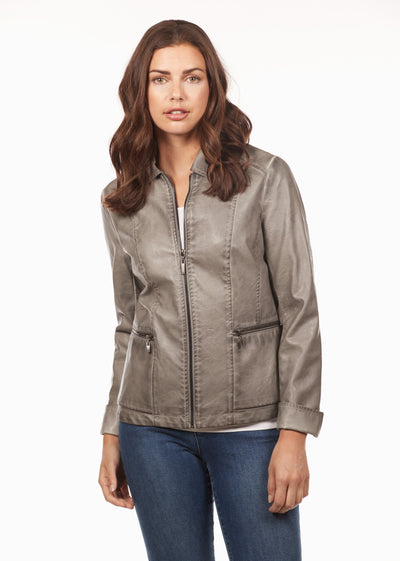 Vegan Leather Jacket-silver-front