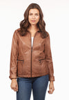 Vegan Leather Jacket-toffee-front