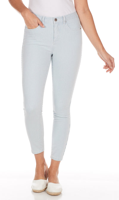 Olivia Slim Ankle - Stripe Denim-chambray-front
