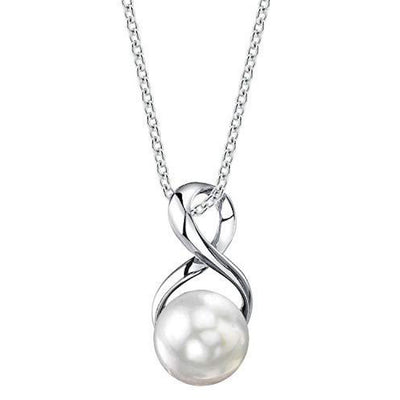 9-10mm Genuine White Freshwater Cultured Pearl Infinity Pendant Necklace