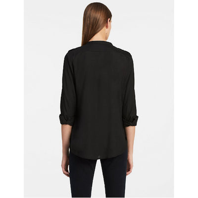 Modern Essential Zipper Button Front Blouse