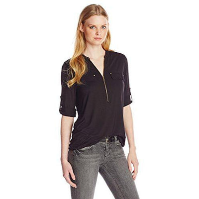 Modern Essential Zip Front Roll Sleeve Blouse