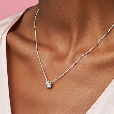 Square Sparkle Halo Cubic Zirconia Necklace in Sterling Silver, 17.7""