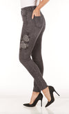 Suzanne Floral Slim Leg-grey-side