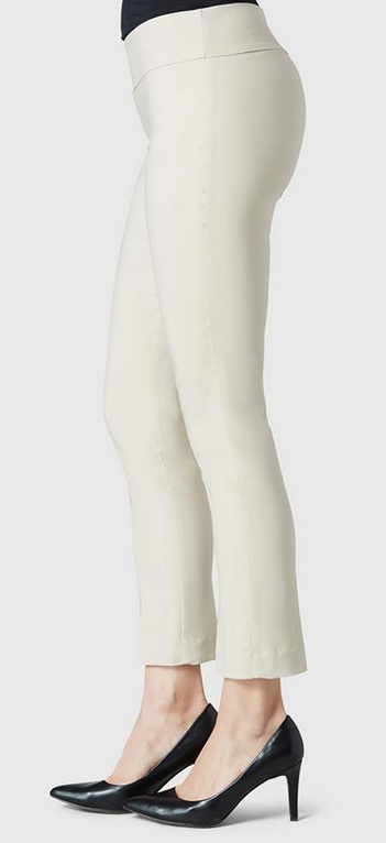 "Solid Magical Lycra 28"" Ankle Pant-beige-side"