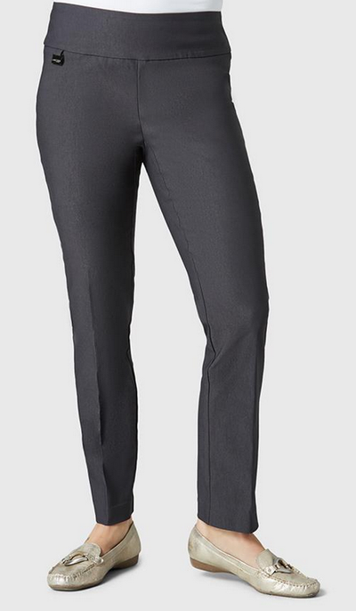 "Solid Magical Lycra 28"" Ankle Pant-dark slate-front"