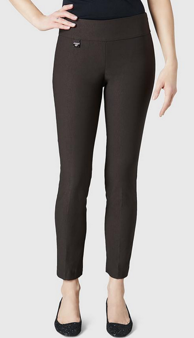 "Solid Magical Lycra 28"" Ankle Pant-espresso-front"