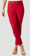 "Solid Magical Lycra 28"" Ankle Pant-red-front"