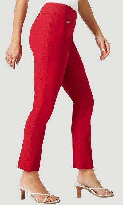 "Solid Magical Lycra 28"" Ankle Pant-red-side"