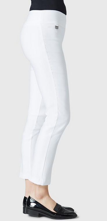 "Solid Magical Lycra 28"" Ankle Pant-white-side"